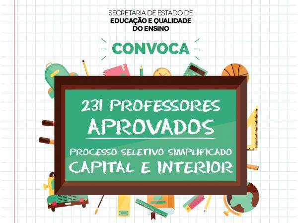 Seduc convoca 231 professores aprovados em Processo Seletivo Simplificado