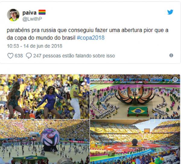 Abertura da Copa do Mundo decepciona a internet e público desabafa