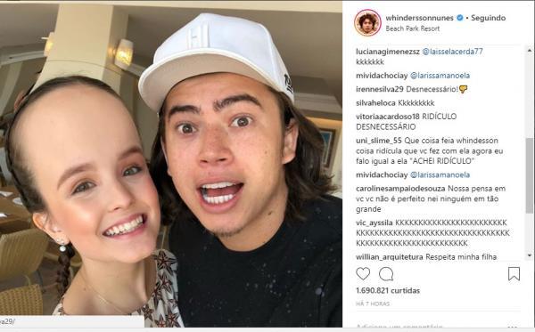 Fãs detonam Whindersson Nunes por piada com testa de Larissa Manoela
