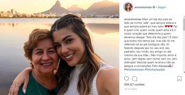 No Dia dos Pais, Vivian Amorim faz homenagem a mãe no Instagram