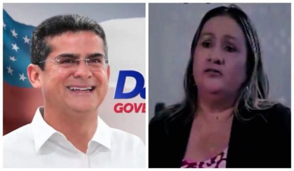 """David Almeida e a professora Sheila Miranda: propaganda eleitoral prega que """"professor quer dinheiro"""" (Reprodução)"""
