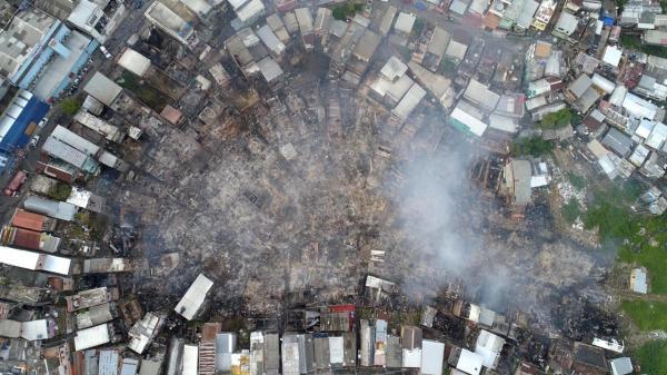 Defesa Civil estima que mais de 600 casas foram destruídas durante incêndio no Educandos