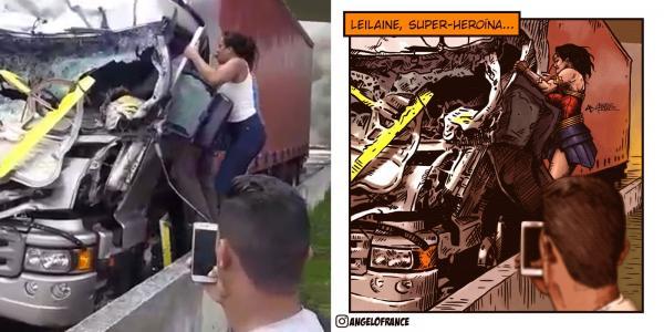 Artista desenha mulher que ajudou a tirar motorista após acidente com helicóptero de Boechat: 'Super-Heroína!'