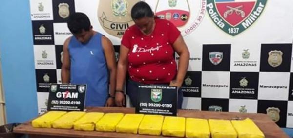 Casal é preso com 10 tabletes de drogas em Manacapuru