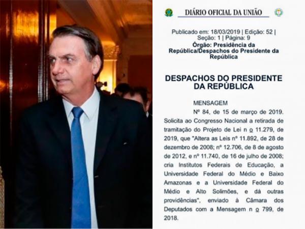 Bolsonaro veta criação de novas universidades e institutos federais no Amazonas
