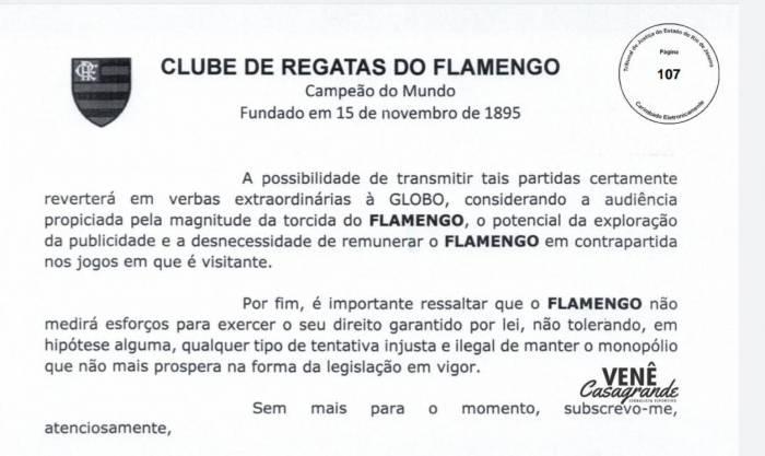 Flamengo envia contranotificação para Globo e diz 'que não vai tolerar ameaças'