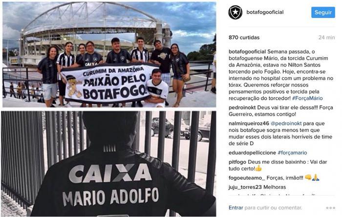 Botafogo faz homenagem a jornalista amazonense que está internado em estado grave