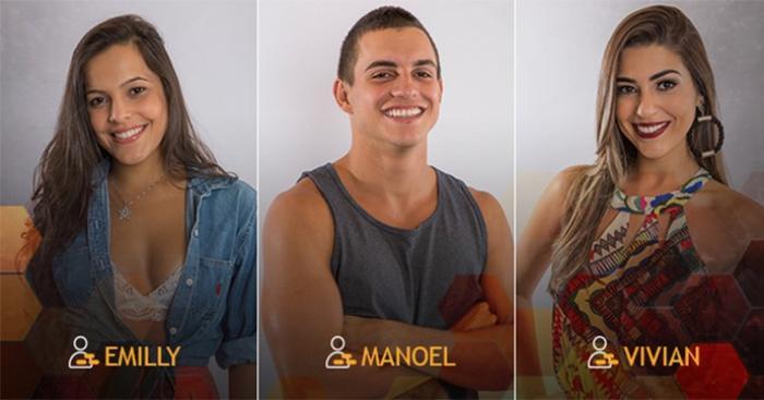 Emilly, Manoel e Vivian estão no Paredão triplo