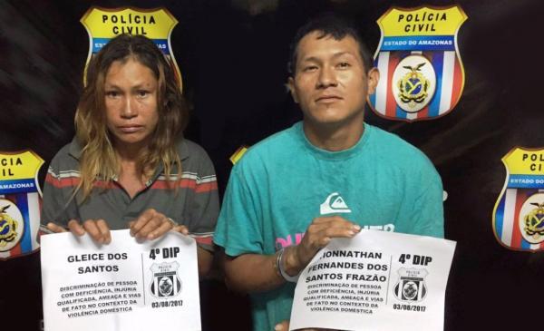 Em Manaus, mãe e filho são presos em flagrante após agredir idosa de 68 anos