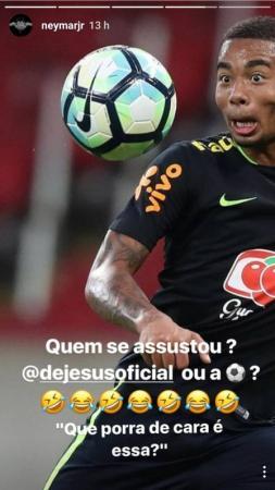 Neymar posta foto de Gabriel Jesus com cara de susto e faz zoação nas redes