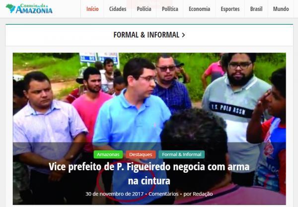 Vice-prefeito de Presidente Figueiredo é vítima de calúnia praticada por site local