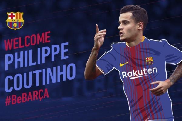 Barcelona oficializa contratação do brasileiro Philippe Coutinho