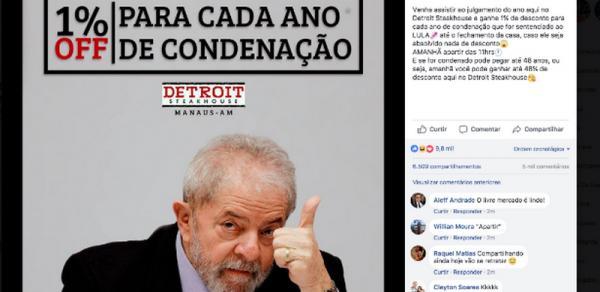 Restaurante de Manaus que usou julgamento de Lula em promoção deve R$ 543 mil em impostos