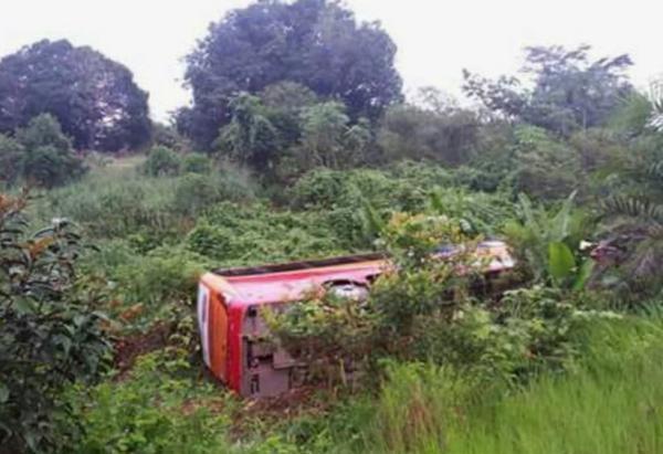 Ônibus que viajava de Boa Vista a Manaus tomba após motorista dormir, na BR-174
