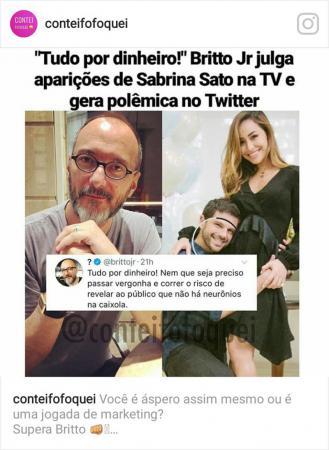 """Britto Jr. ataca Sabrina Sato ao falar sobre gravidez: """"Tudo por dinheiro. Não há neurônios"""""""