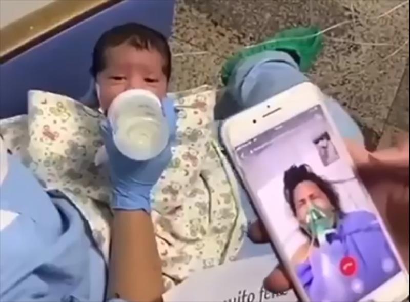 Grávida de 37 semanas, foi internada na UTI de um hospital com o diagnóstico de COVID-19.